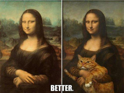 Mona Lisa with ginger cat