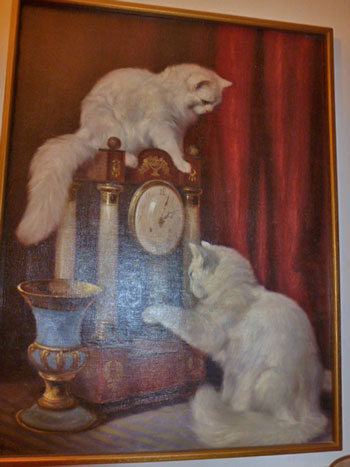 Persian Angora type cats in painting by A Heyer