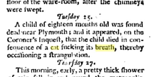 cat sucking breath of child strangulation