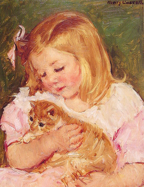 Painting of child holding a cat