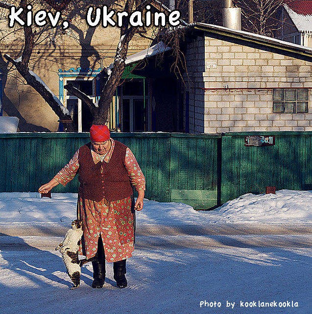 Ukraine old lady and her cat