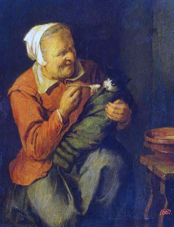 Peasant woman with a cat by David Ryckaert III
