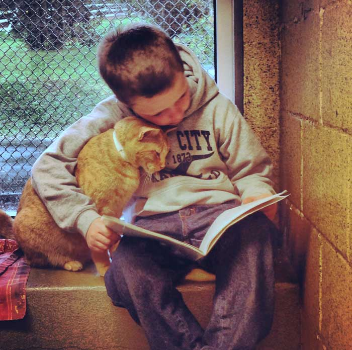 Boy and cat together