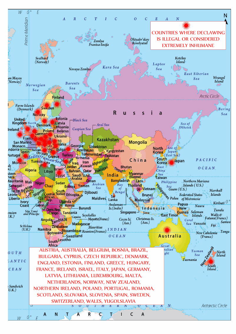 Declawing cats ban or discouraged world map