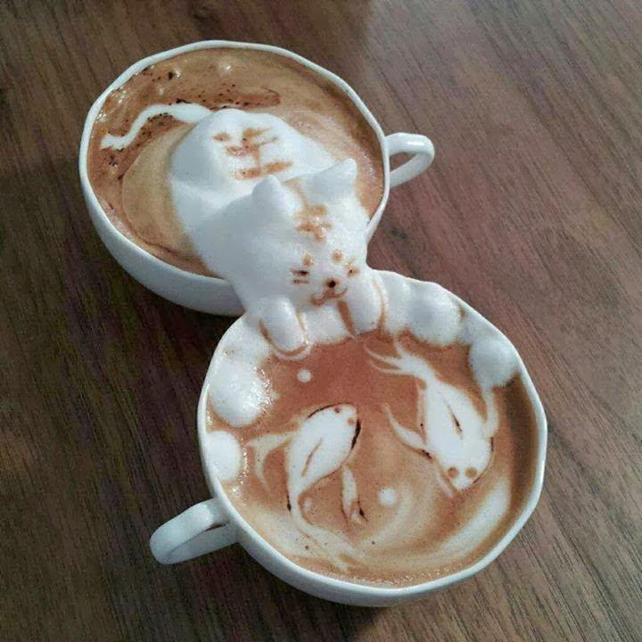 Cat latte art by Kazuki Yamamoto