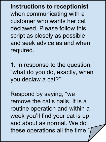 The American veterinarians lie - a script for the receptionist