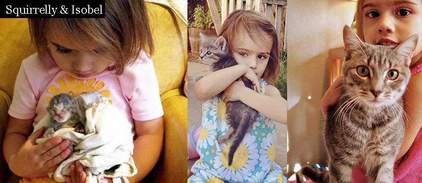 Girl raises tiny kitten
