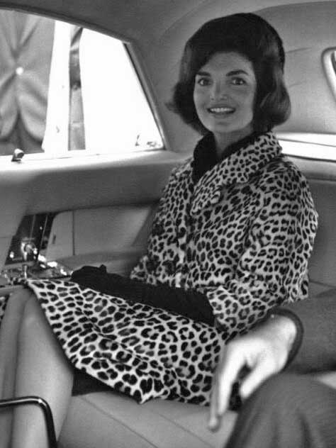 Jackie Kennedy in genuine leopard fur coat