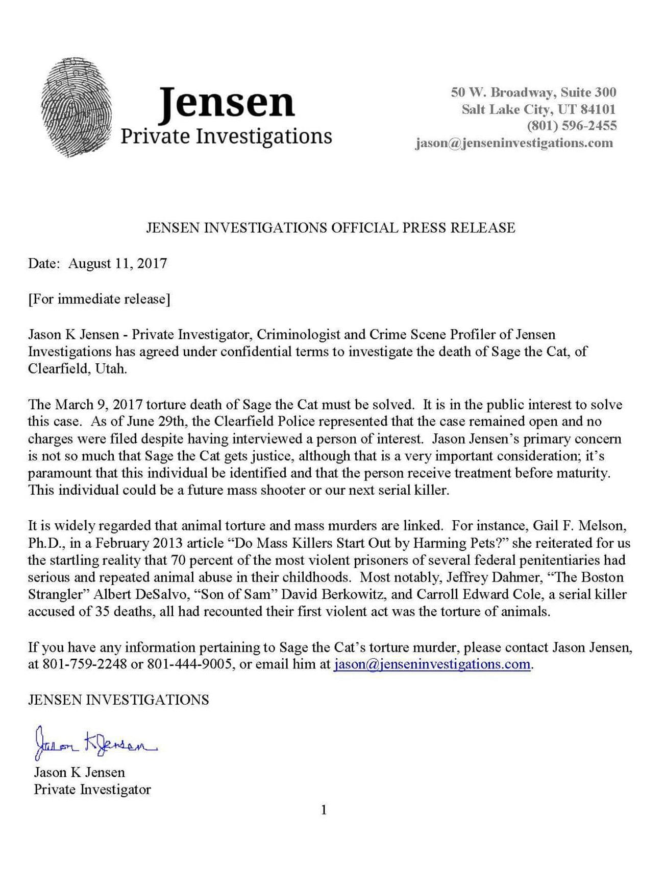 Private investigator's press release declaring his involvement in the investigation of Sage's torture