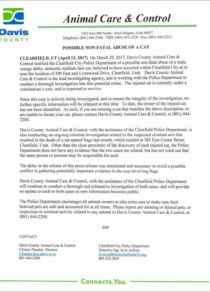 Animal Care & Control statement on Sage Investigation