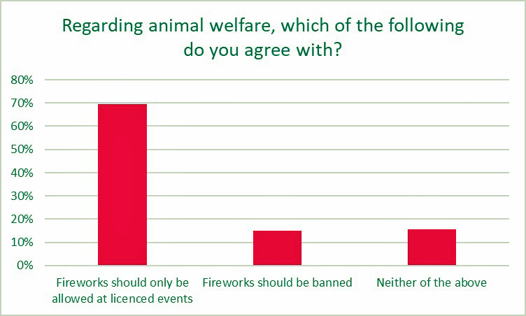 Pet owners want stage firework displays. animalfriends.co.uk survey.
