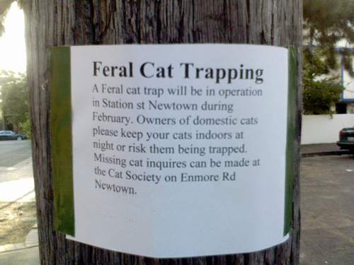 feral trapping sign