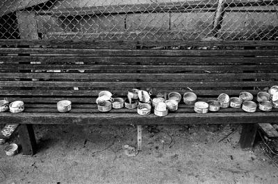 Empty 9 Lives cat food cans on a bench used I believe to feed stray cats. Morris would be proud. Photo  by Kilgub (Flickr)
