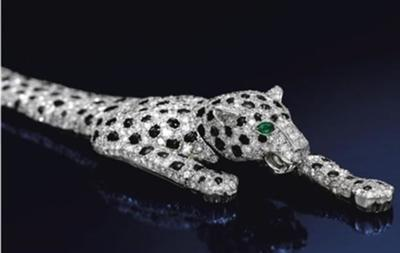 The Cartier-designed diamond panther bracelet