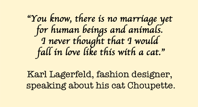 Karl Lagerfeld wants to marry his cat Choupette