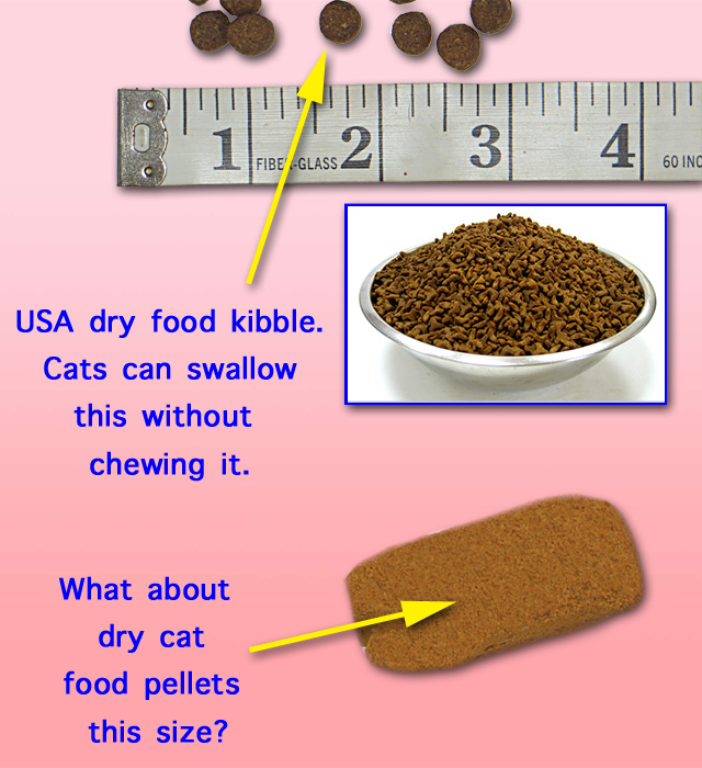 Dry cat food pellets are too small
