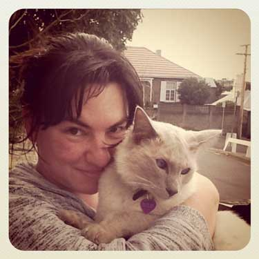 Tasmanian woman and cat