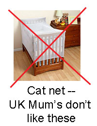 Cat net for baby's cot