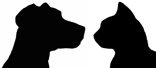 cat and dog silhouette