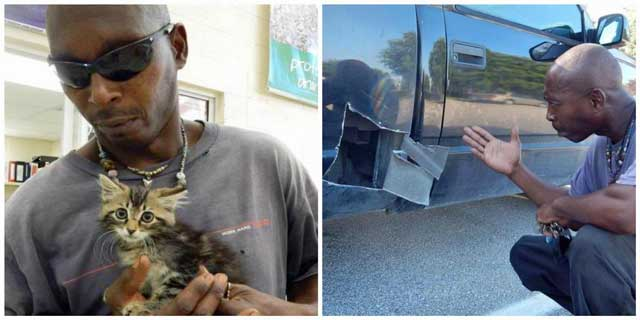 Man cut open his own vehicle to find a trapped kitten