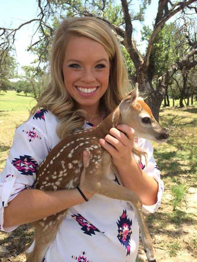 Kendall jones with young deer