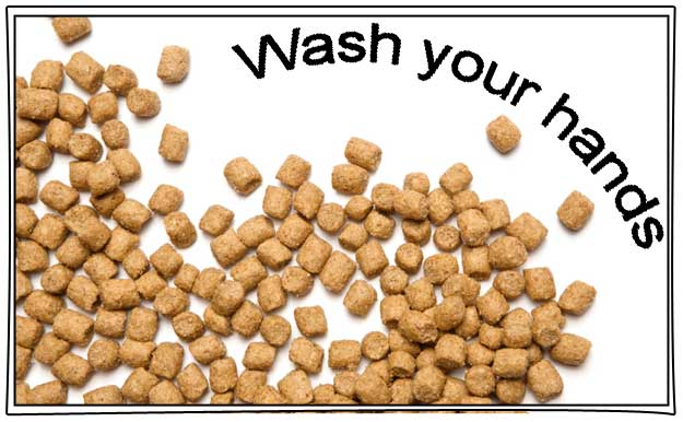 Wash hands after handling dry pet food