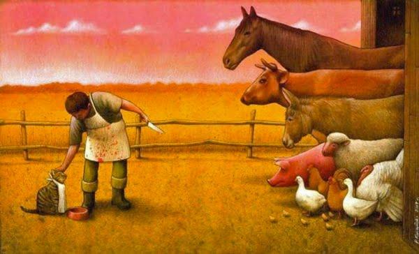 Cat and farm livestock