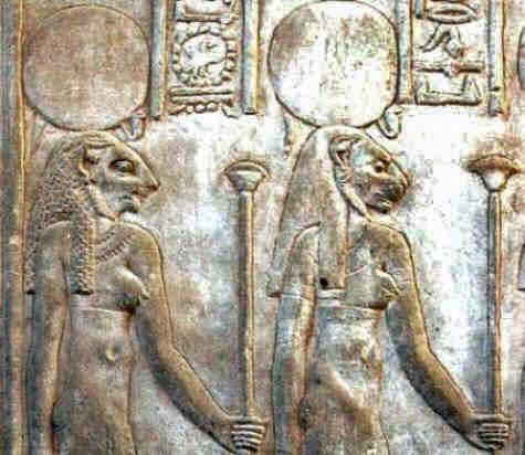 Cat goddesses relief