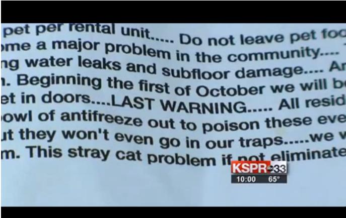 demand to poison cats at trailer park