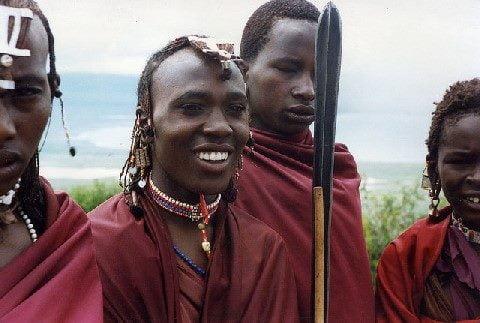 Masai (Maasai) youths at the rim of Ngorongoro crater, Tanzania