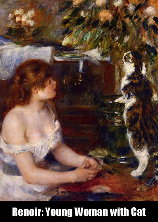 Renoir: Young Woman with Cat 1882