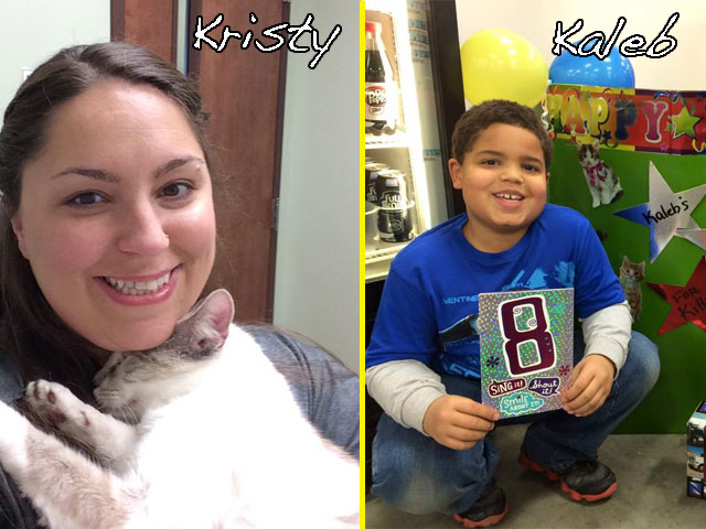 Kristy and Kaleb Brooks. The picture of Kristy is at the Troutman Animal Hospital. Kaleb is fundraising in his picture.