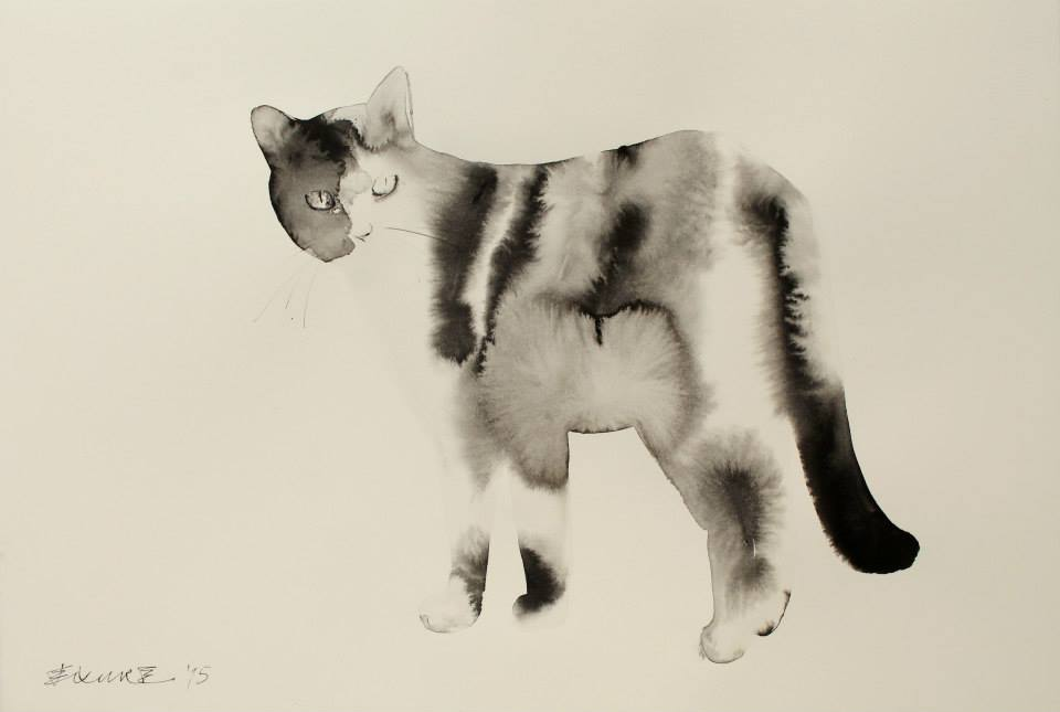 Endre Penovac cat watercolor