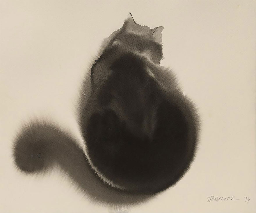 Endre's classic black cat watercolour with the bleeding paint looking like fur