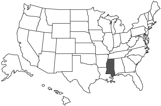 Mississippi shown on map