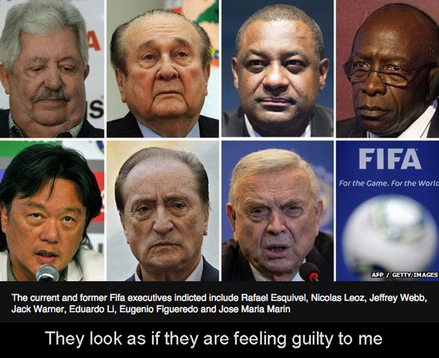 Line up of corrupt FIFA officials