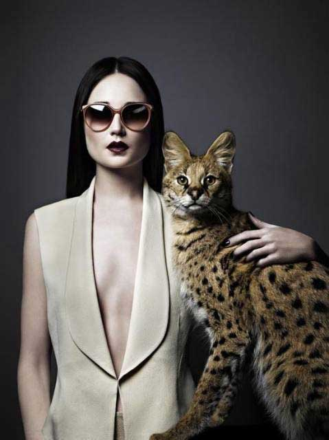 Woman and cat (a slender, leggy serval)