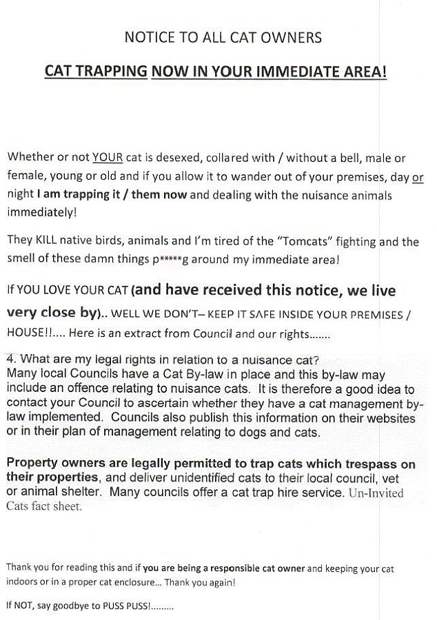 Threatening letter from cat hater in Brisbane area, Australia