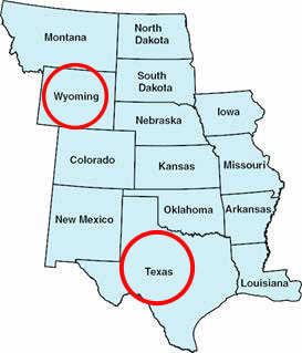 Wyoming and Texas map