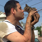 Policeman and kitten
