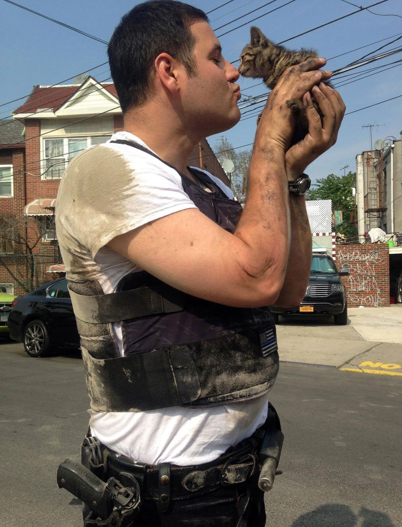 NYPD officer rescues tiny kitten. Click on the photo to see it even larger.