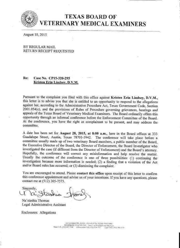 Letter notifying hearing