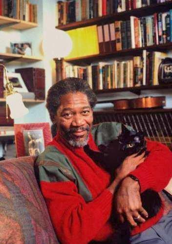 gan Freeman and his cat (I think)