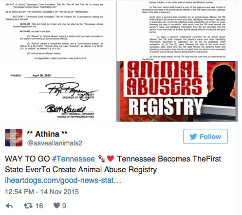 Tennessee animal abuse registry