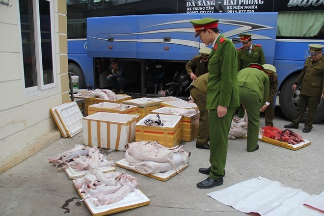 A grizzly shipment on a bus of skinned cats and dogs destined for restaurants in Vietnam.
