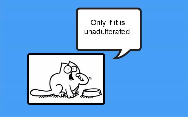 Unadultered pet food
