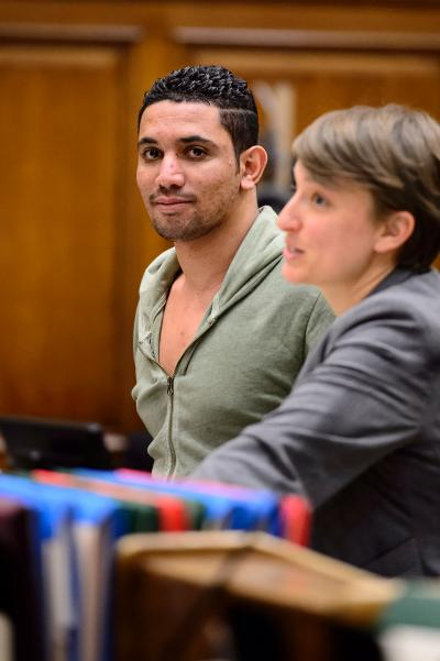 Zaid Salah smiling in court with is defense lawyer. Photo: JEFF BACHNER/FOR NEW YORK DAILY NEWS