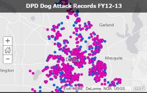 Dallas map showing dog bites statistics