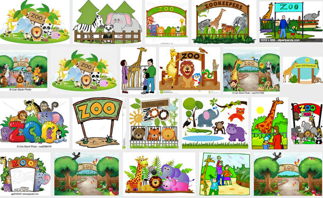 Zoo clipart - all is rosy in zoo clipart. But it is not for the animals.
