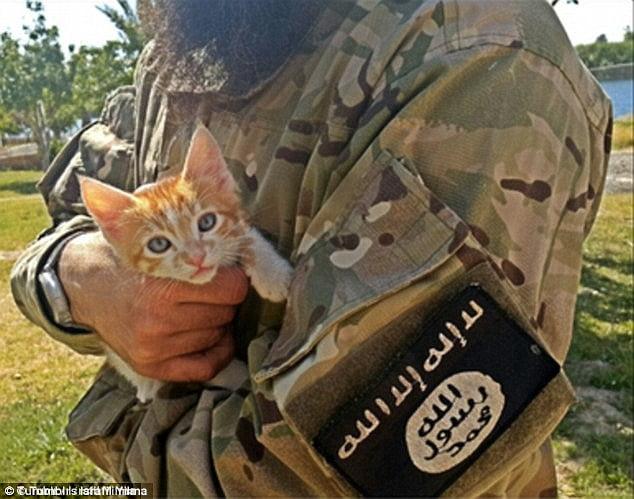 ISIS terrorist with kitten